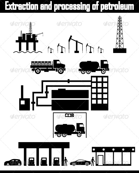 Oil Production Equipment Vector - Industries Business