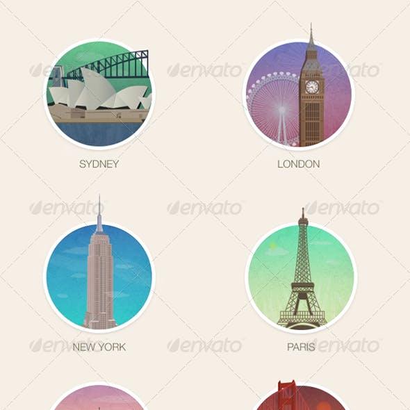 City Icons Illustrations