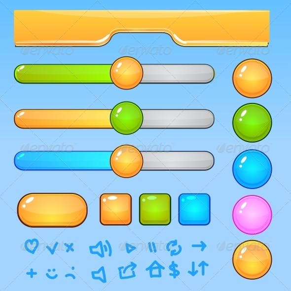 Game UI Elements Colorful Buttons and Icons