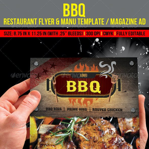 Barbecue Restaurant Flyer & Manu Template/ Magazin