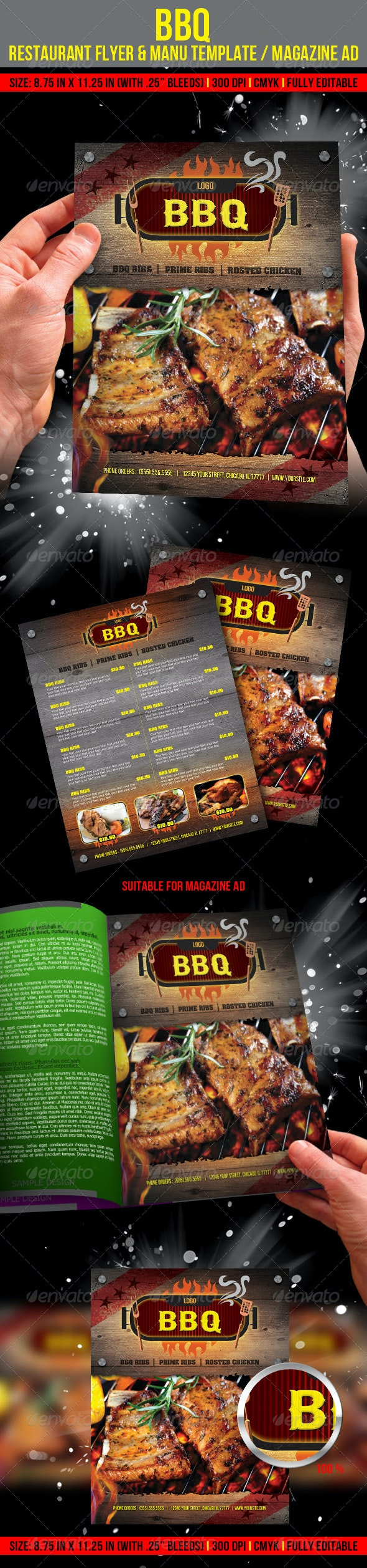 Barbecue Restaurant Flyer & Manu Template/ Magazin - Restaurant Flyers