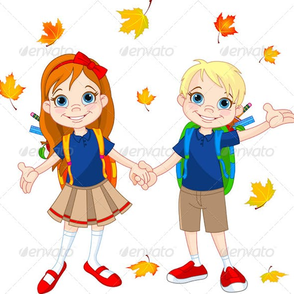 Boy and Girl Ready for School