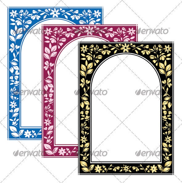 3 vector color floral arch frames - Borders Decorative