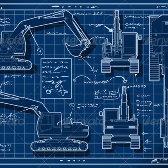 Excavator Blue Project in Five Orthogonal Views