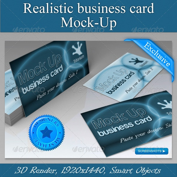 Realistic Business Card Mock-Up. Day & Night - Business Cards Print
