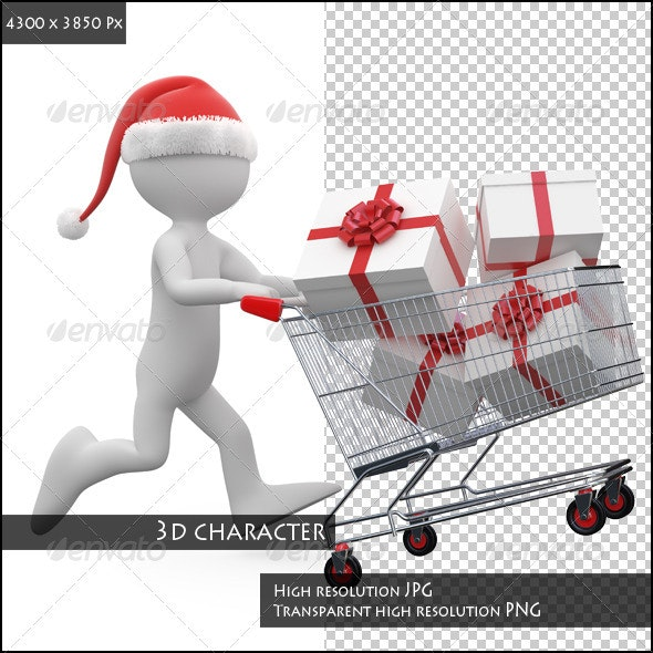 Man with Santa Hat Pushing a Shopping Cart - Characters 3D Renders