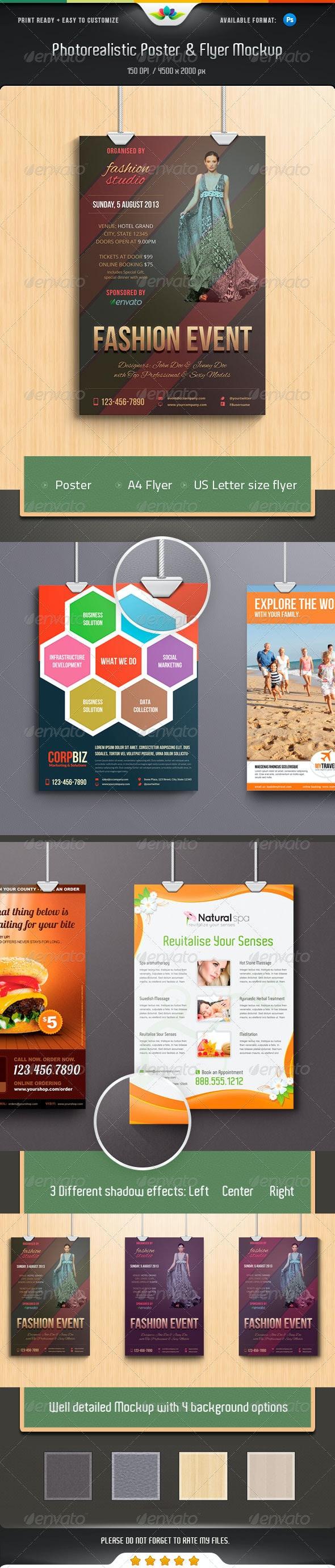 Photorealistic Poster & Flyer Mockup Pack - Print Product Mock-Ups