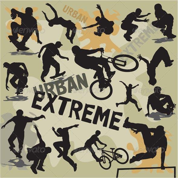 Extreme urban sports silhouettes