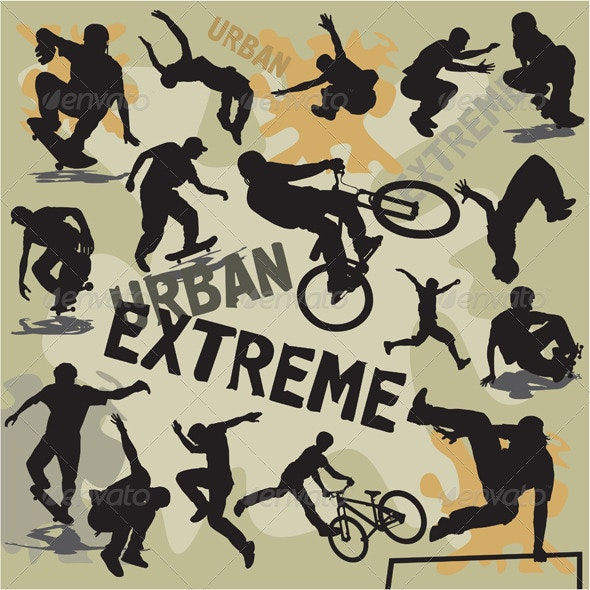Extreme urban sports silhouettes - People Characters