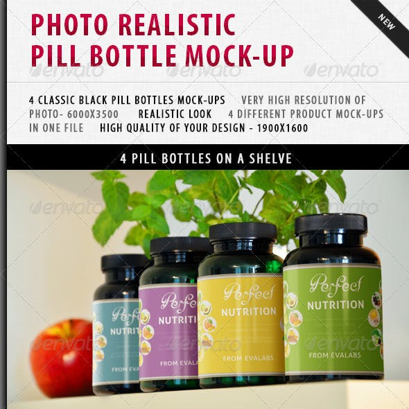 Photo-realistic Pill Bottles Mock-up