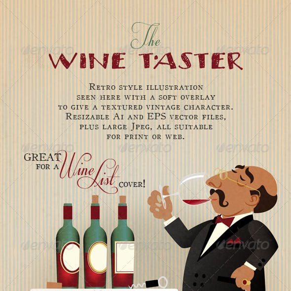 Wine Taster. Connoisseur of the Red Wine.