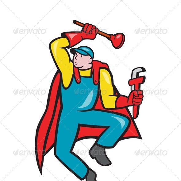 Super Plumber Plunger Wrench Cartoon