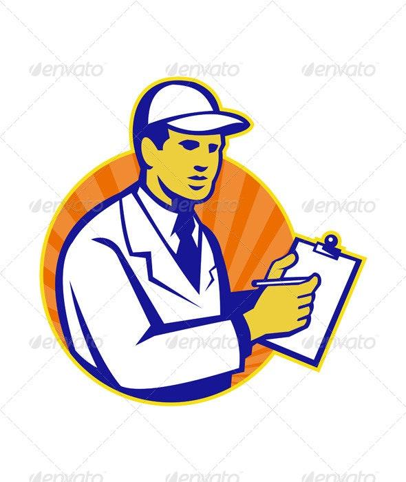 Technician Inspector Worker Clipboard Retro