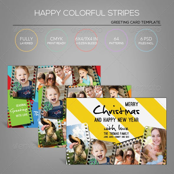 Happy Holiday Stripe - Greeting Card