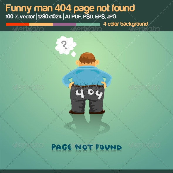 Funny Man 404 Page Not Found - 404 Pages Web Elements