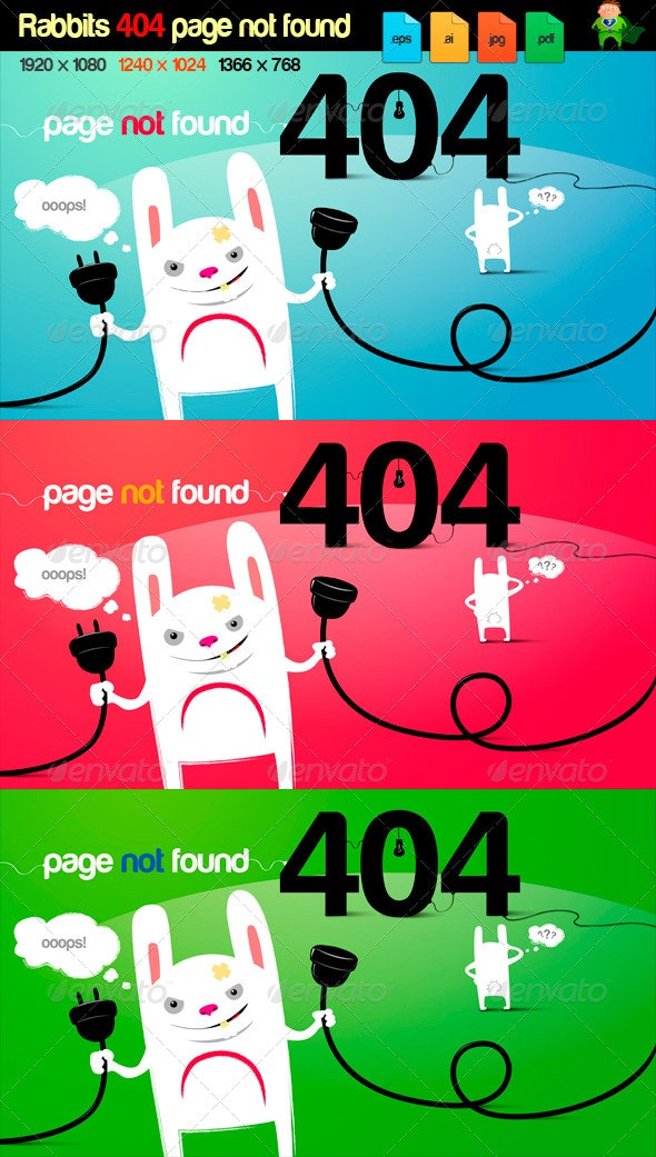 rabbits 404 page error - 404 Pages Web Elements
