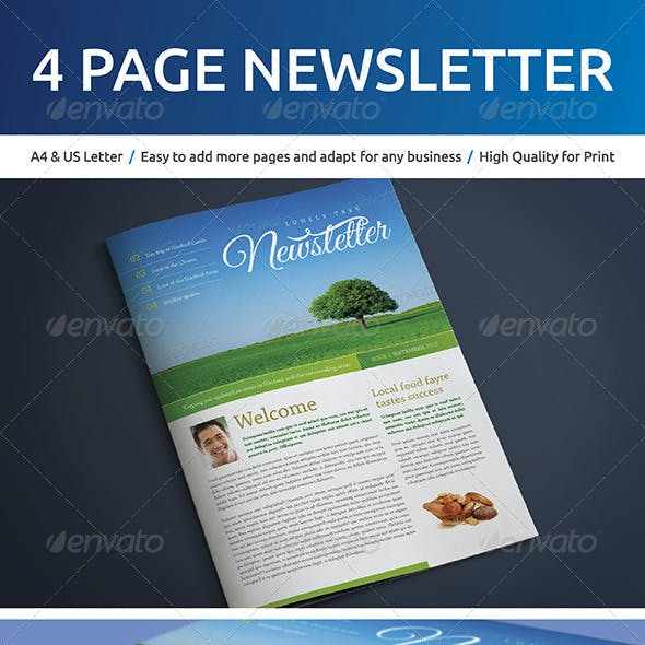 4 Page A4 and US Letter Newsletter