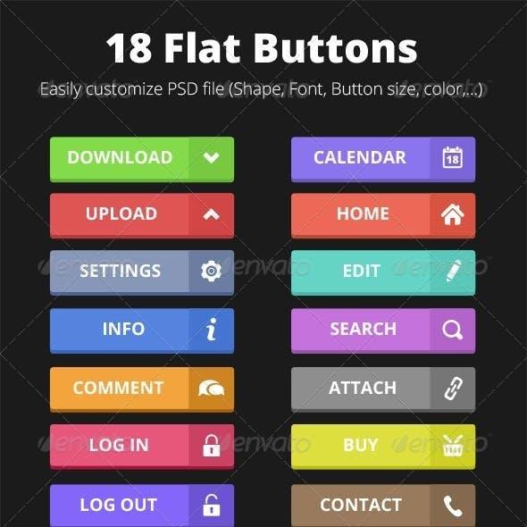 18 Flat Buttons
