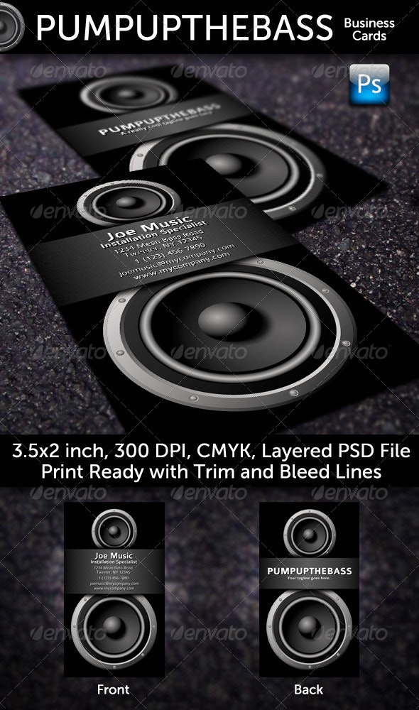 Pump Up The Bass Business Cards - Industry Specific Business Cards