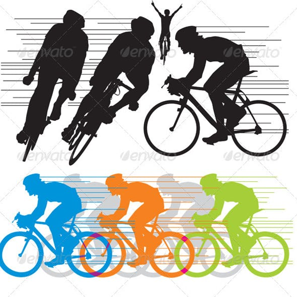 Silhouettes cyclist