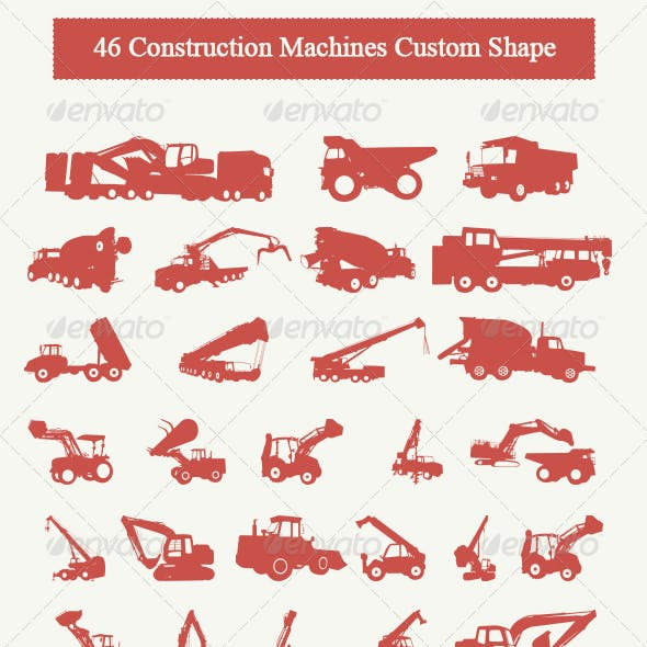 46 Construction Machines Custom Shape