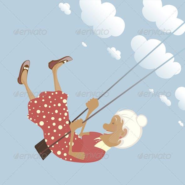 Happy Childish Granny on the Swing