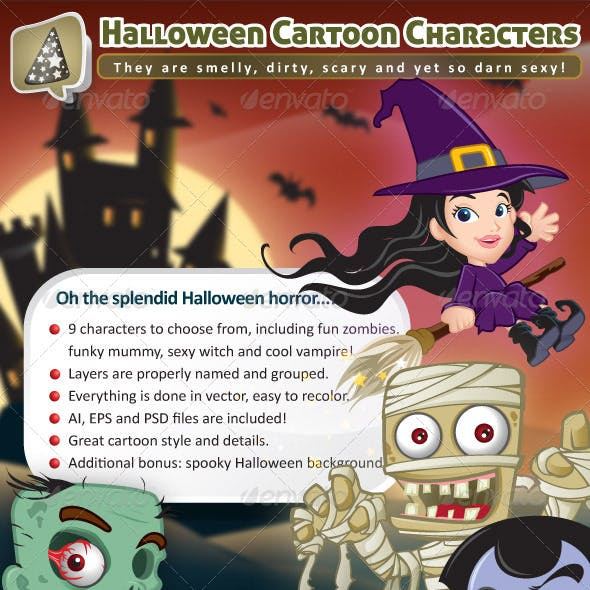Fun Halloween Cartoon Characters