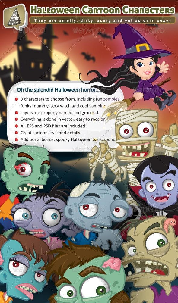 Fun Halloween Cartoon Characters - Characters Vectors
