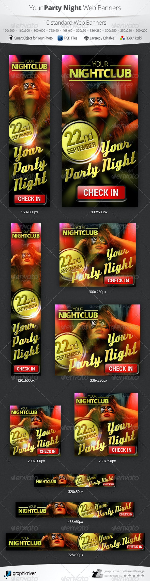 Party Night Web Banners - Banners & Ads Web Elements
