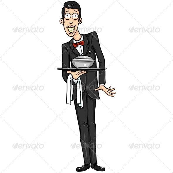 Vector Character - Smiling Waiter