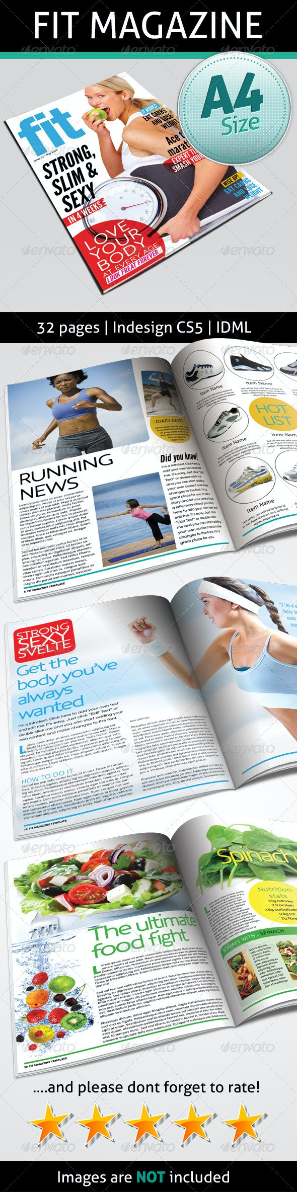 Fit Magazine 32 Pages - Magazines Print Templates