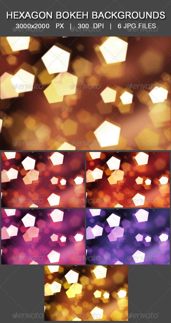 Hexagon Bokeh Backgrounds