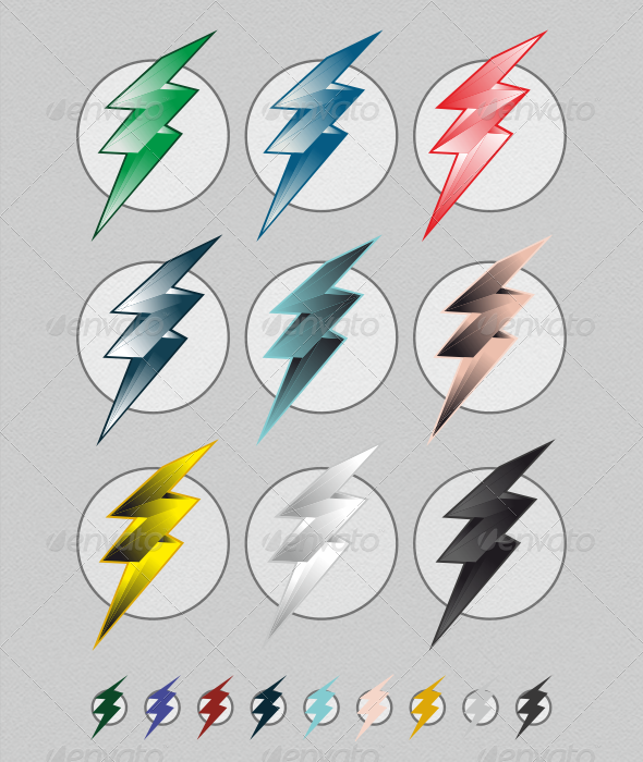 Colorful Lightning Bolts - Miscellaneous Vectors