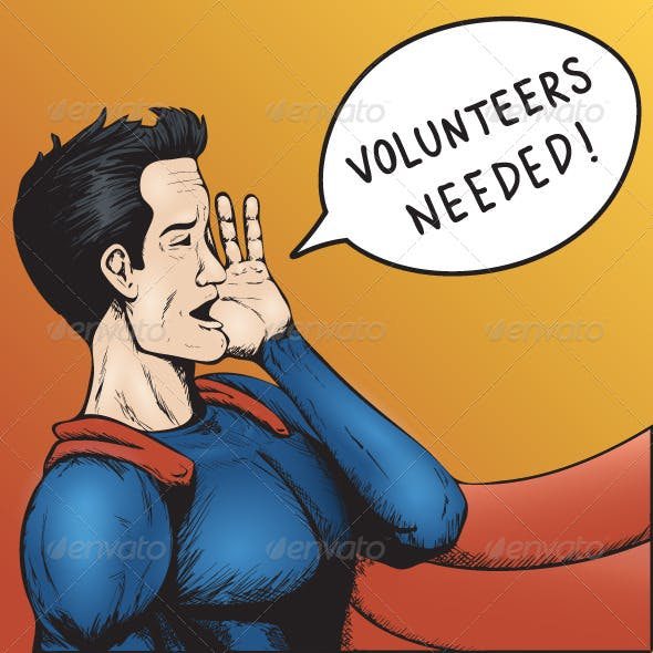 Volunteers Wanted Cartoon Illustration
