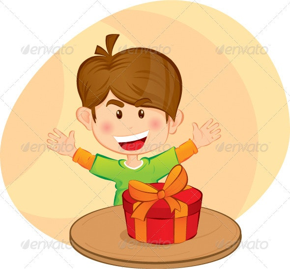 Little boy with a gift - People Characters