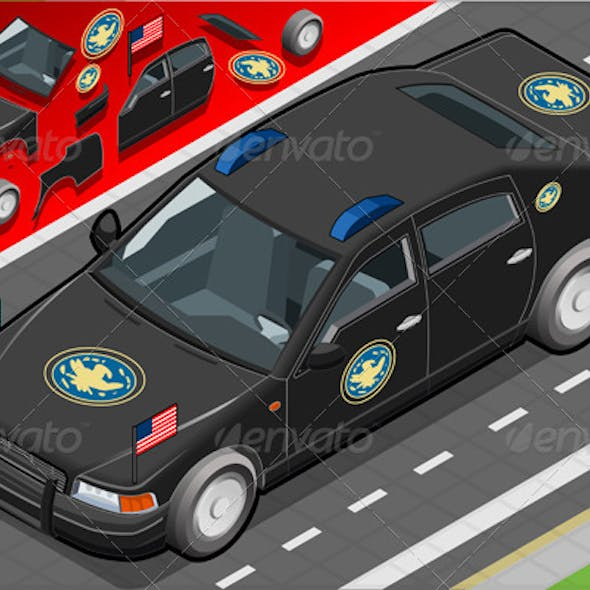 Isometric Diplomatic Limousine in Front View