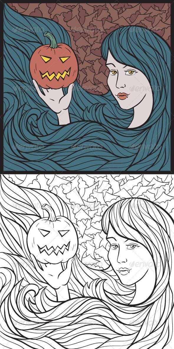 Vampire Girl With a Pumpkin