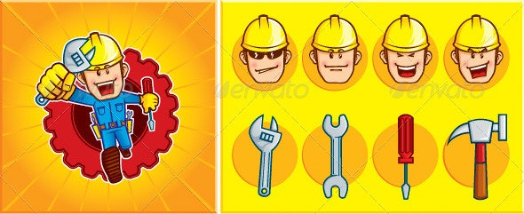 Repair Man Mascot  - Characters Vectors