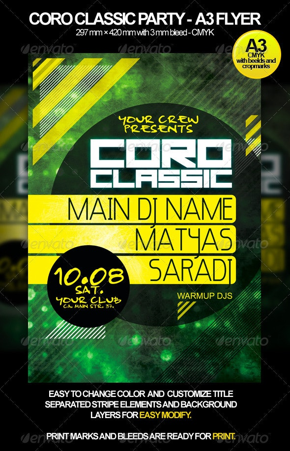 Coro Classic A3 Event Flyer - Clubs & Parties Events
