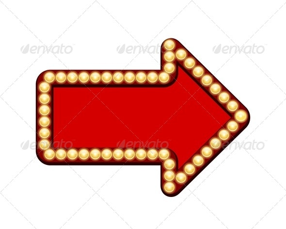 Red Arrow with Light Bulbs - Decorative Vectors