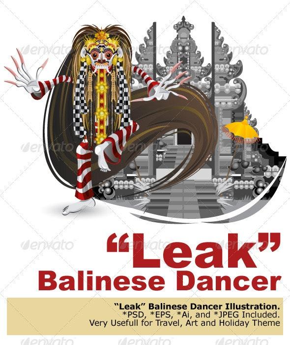 Leak Traditional Bali Dance - Characters Vectors