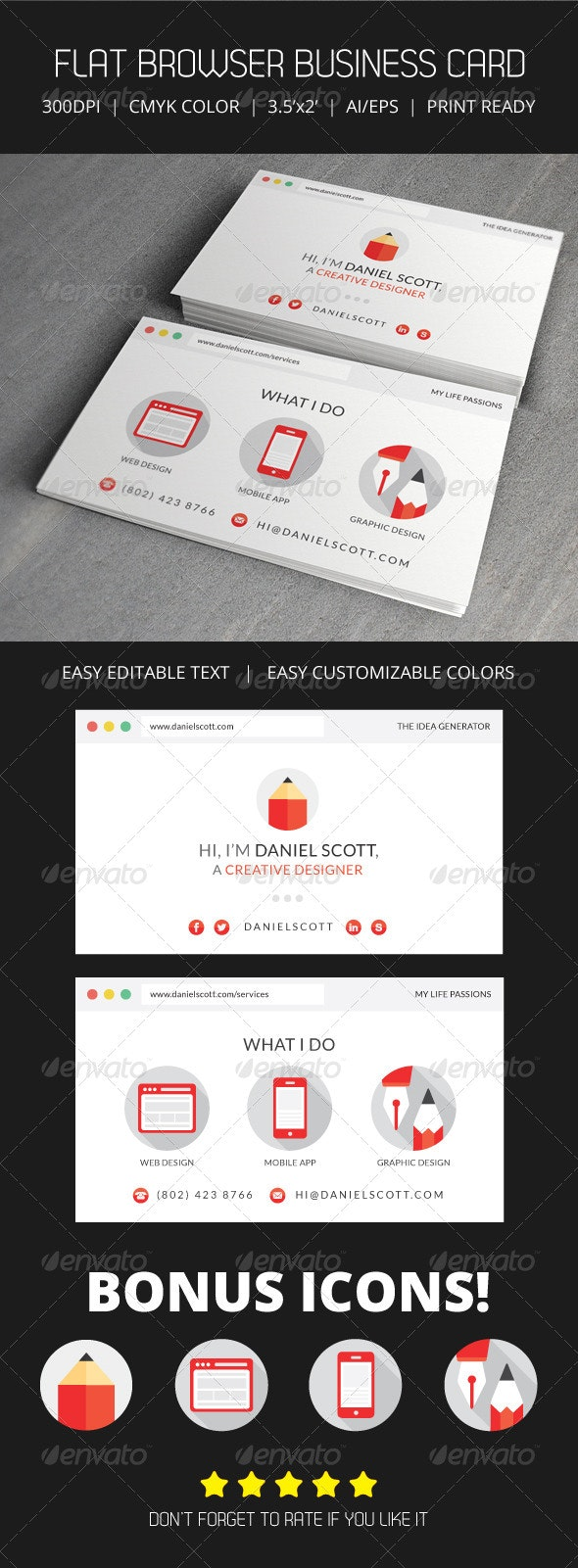 Flat Web Browser Business Card - Creative Business Cards