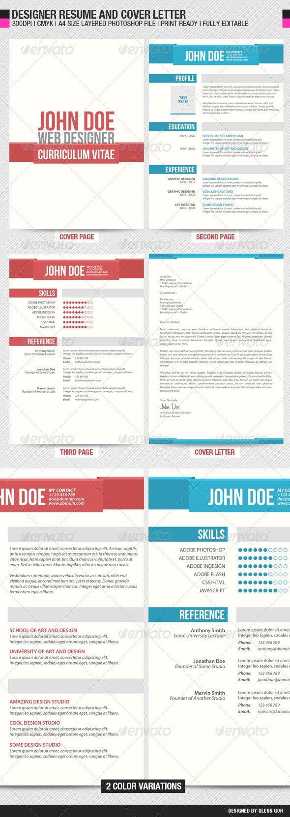 Designer Resume and Cover Letter - Resumes Stationery