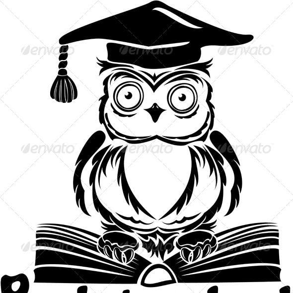 Owl with Graduation Cap and Book