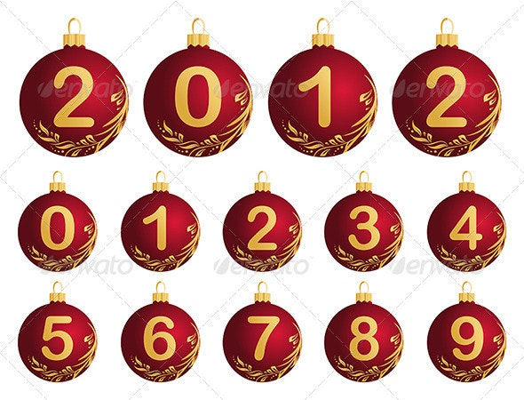 Christmas Balls with numerals - Christmas Seasons/Holidays