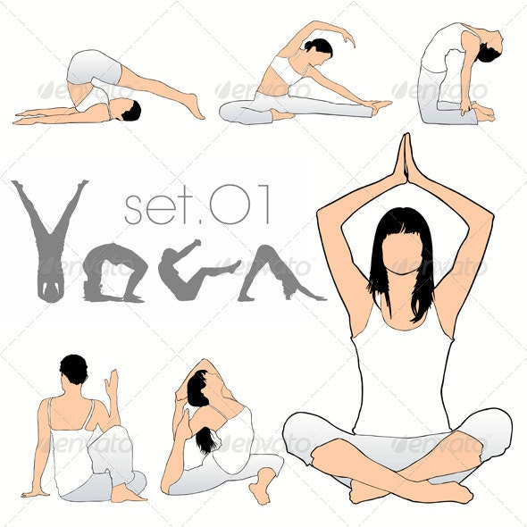 Yoga Silhouettes Set - Sports/Activity Conceptual