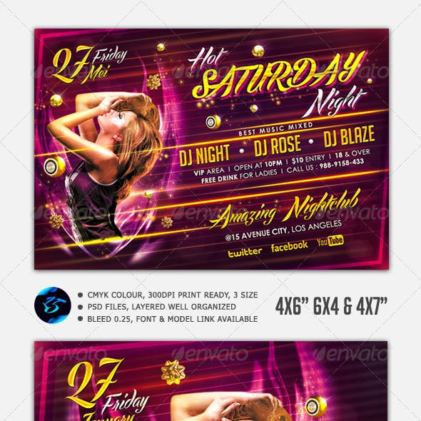 Hot Saturday Night Flyer Template