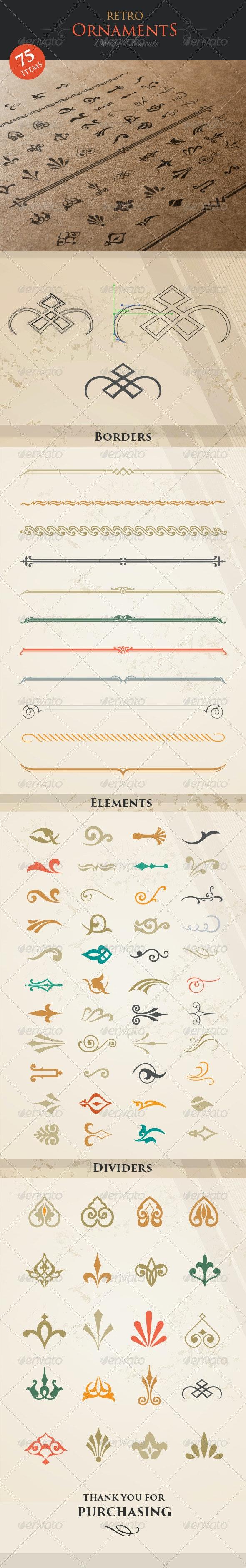 Retro Ornaments Design Elements - Decorative Vectors