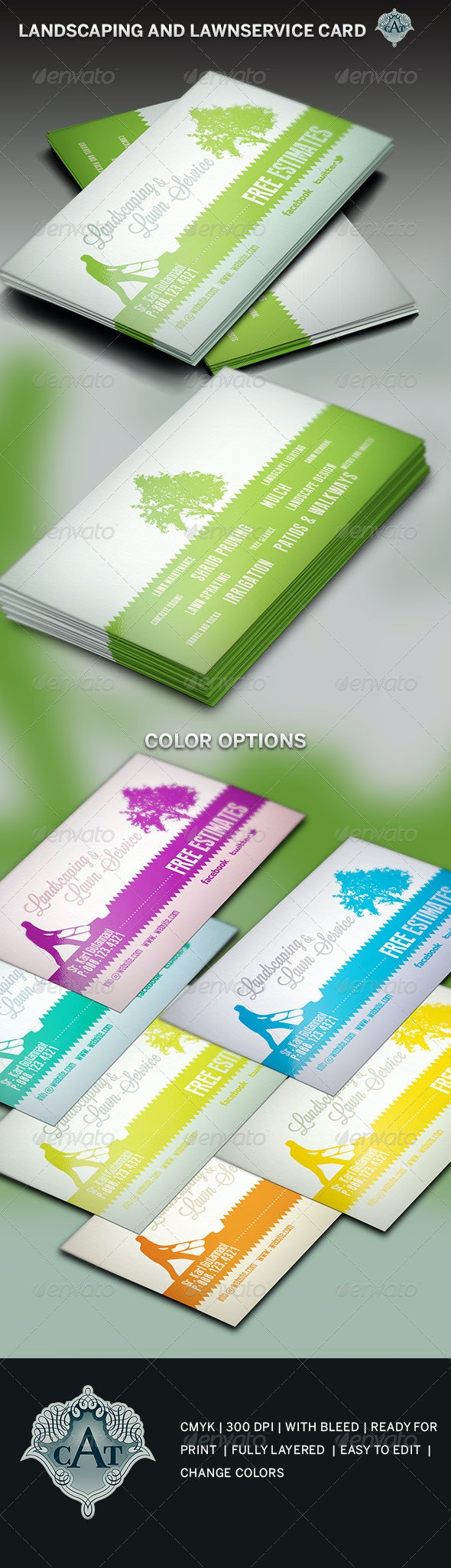 Landscaping and Lawn Business Card Template - Industry Specific Business Cards