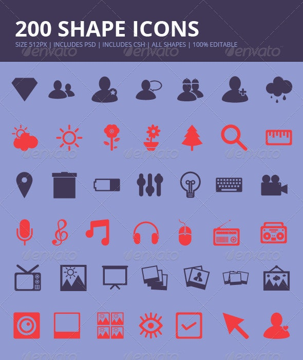 200 Shape Icons - Miscellaneous Icons